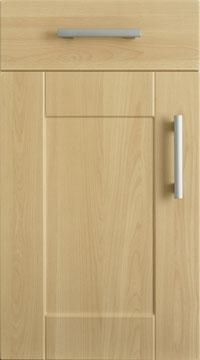 Mfi doors beveled edge satin matt white kitchen cupboard for Replacement kitchen unit doors