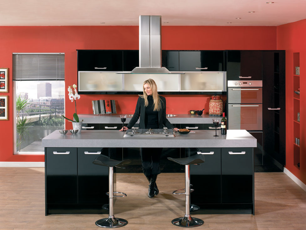 Ghigh Gloss Kitchens In Black